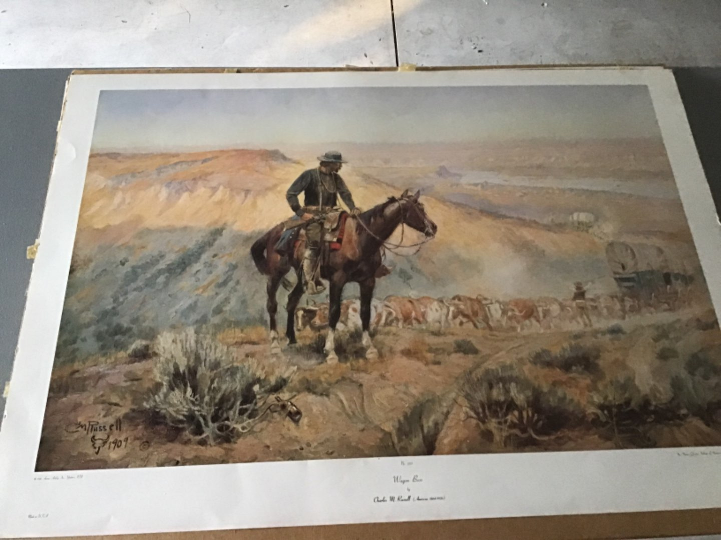 Lot # 138 Huge Vintage Print by C. M. RUSSELL - Wagon Boss - See Descrip in Lot 137