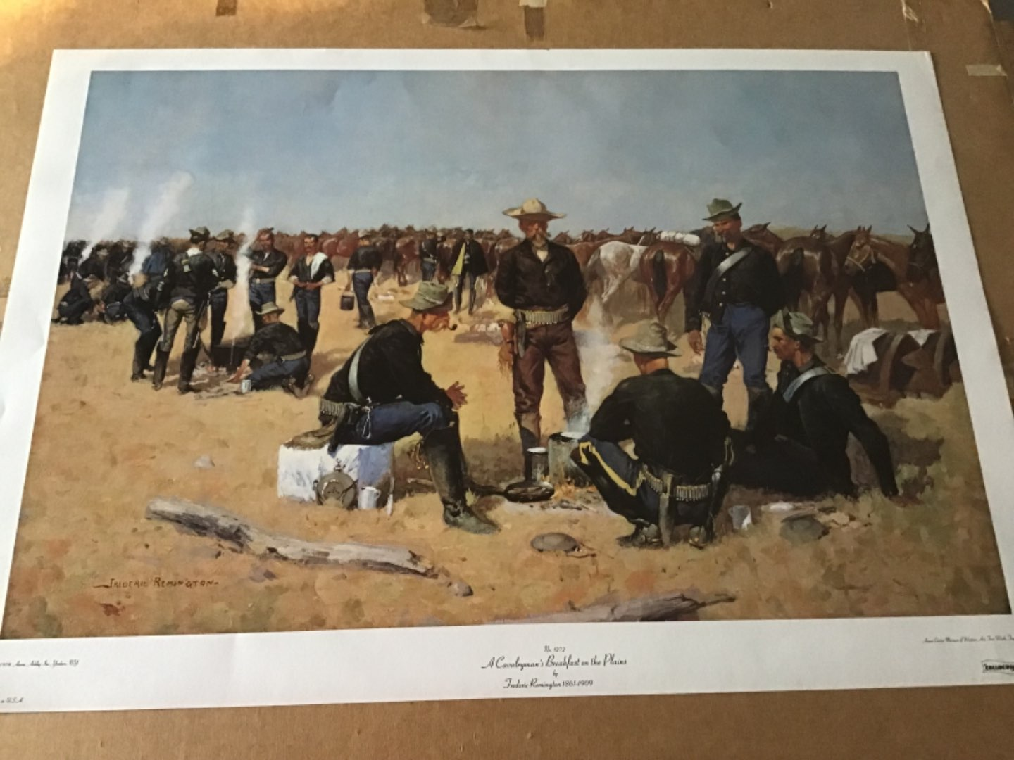Lot # 140 FREDERIC REMINGTON Print - A Cavalryman's Breakfast on the Plains - See Descrp in Lot 137