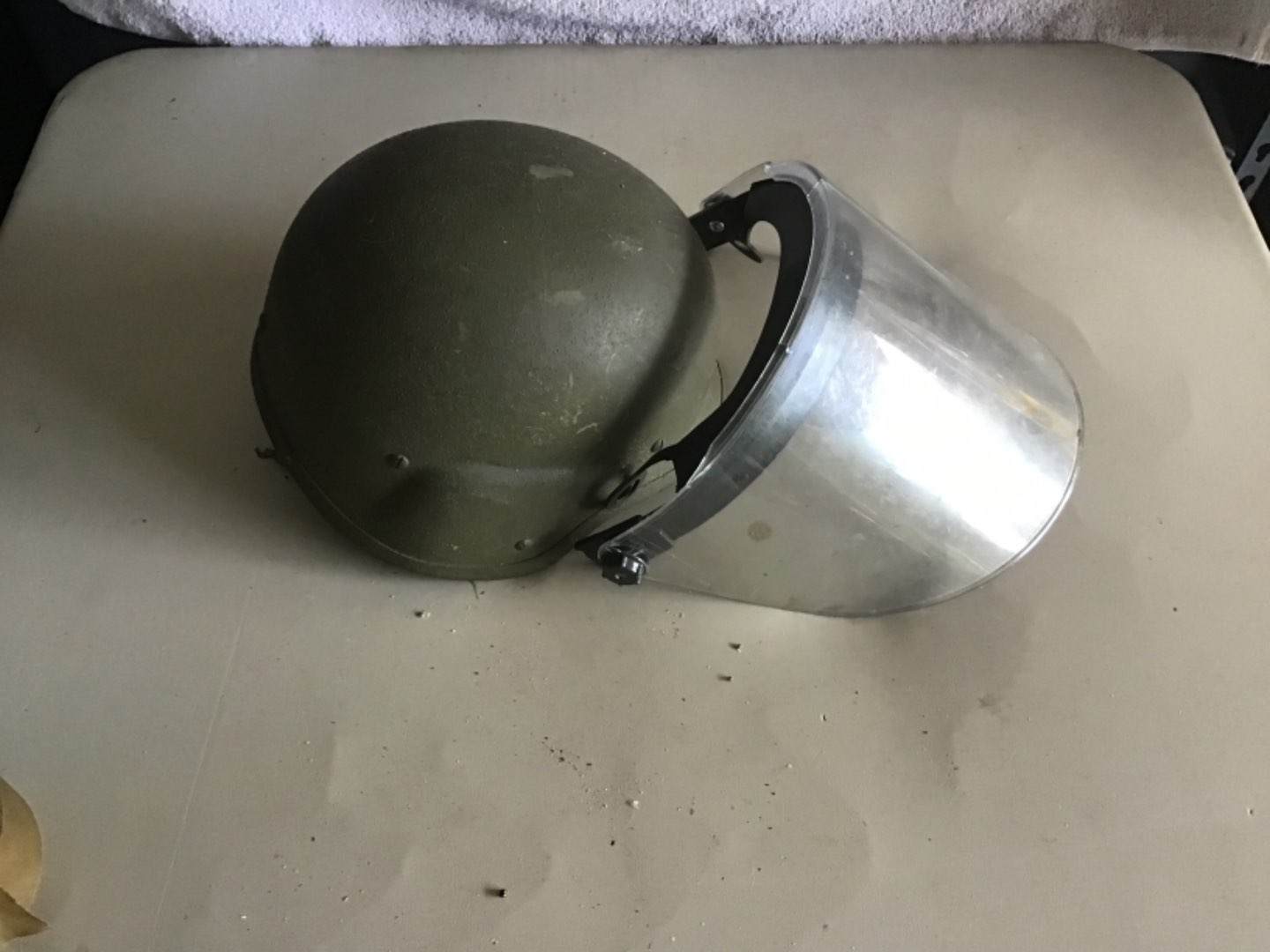 Lot # 144 US MILITARY or Riot Police Helmet w/Shield - See Descrip in Lot 142