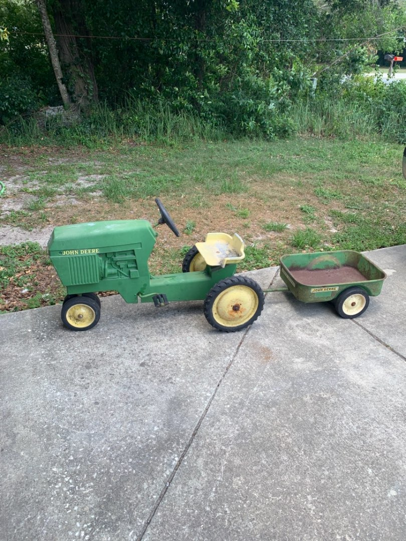 Lot # 145 Another WOW! Vintage Working Solid Cast Metal Ertl John Deere Pedal Tractor With Cart. See Below