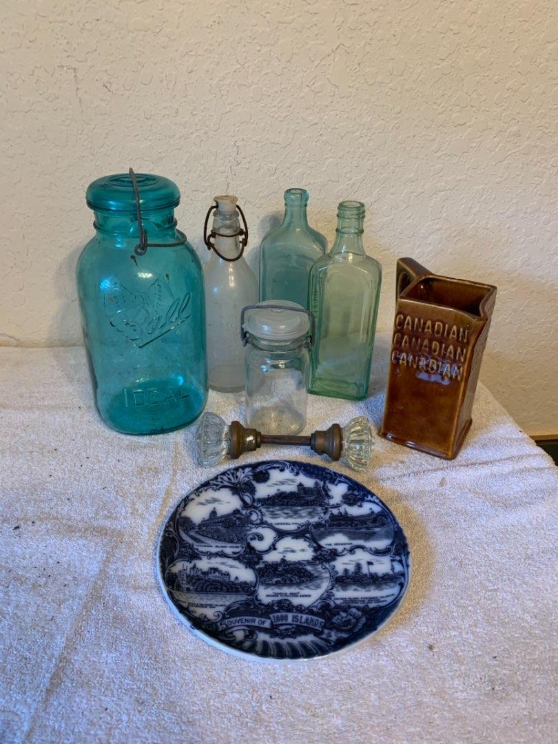 Lot # 146 Lot Assorted Antique Glassware,Doorknobs,Etc..See Below