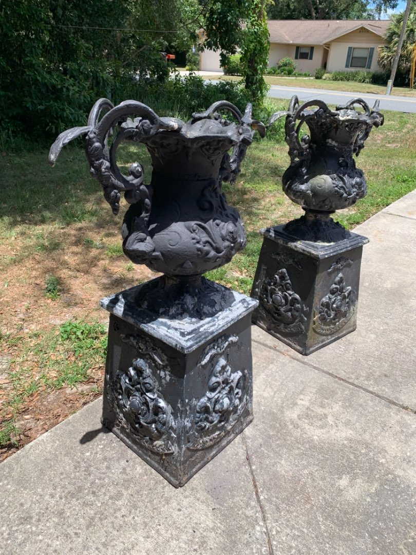 Lot # 147 Beautiful Matching Pair Vintage Cast Metal Tall Urns/Planters. See Below