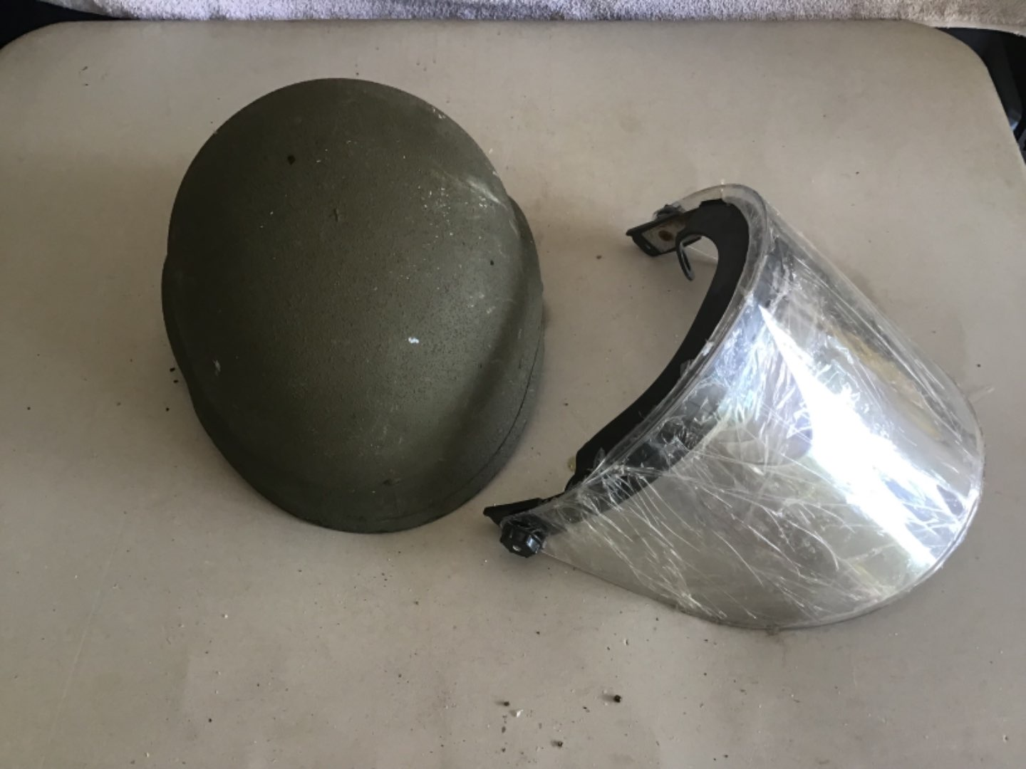 Lot # 149 US MILITARY OR RIOT POLICE HELMET W/SHIELD - See Descrip in Lot 142
