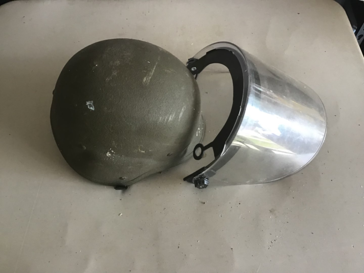 Lot # 152 US MILITARY OR RIOT POLICE HELMET W/SHIELD - See Descrip in Lot 142