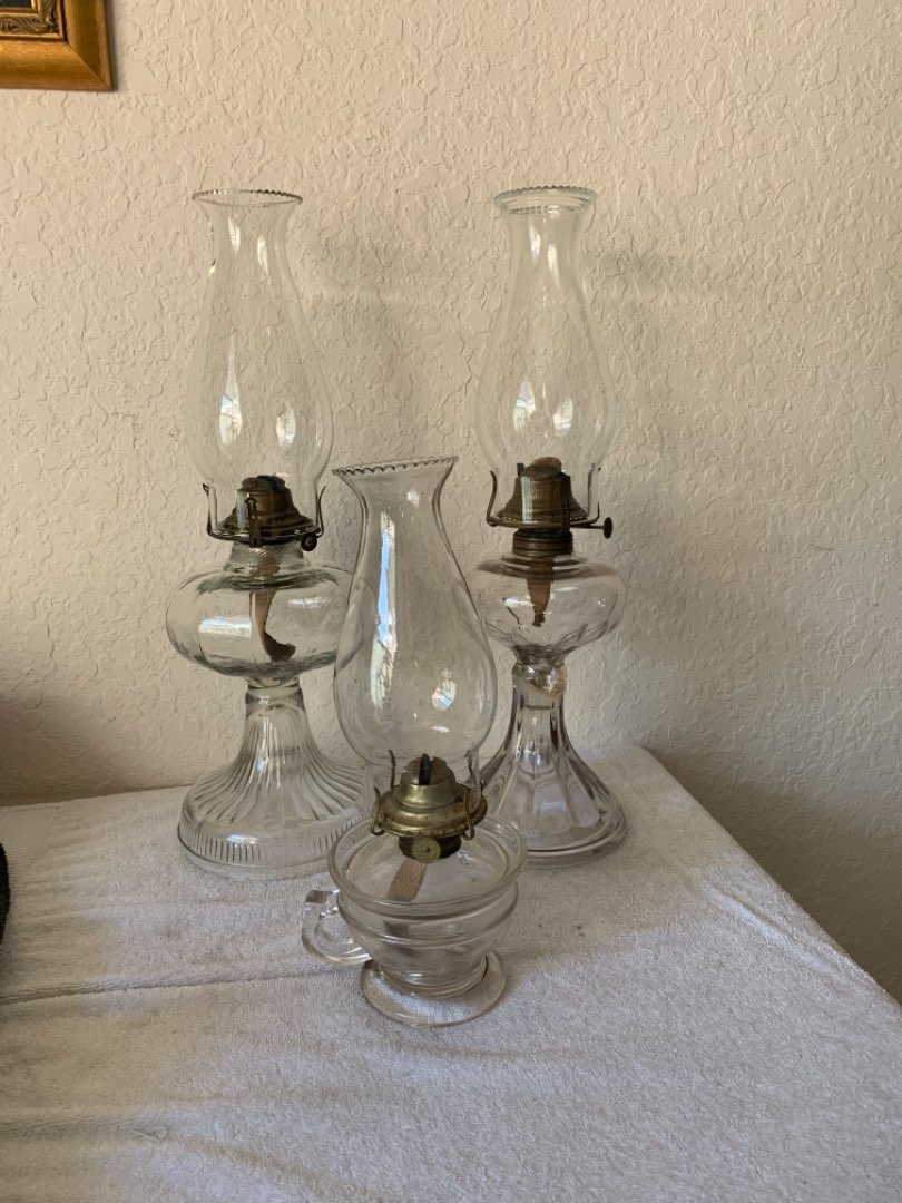 Lot # 159 Beautiful Lot (3) Antique Victorian Oil Lamps. See Below
