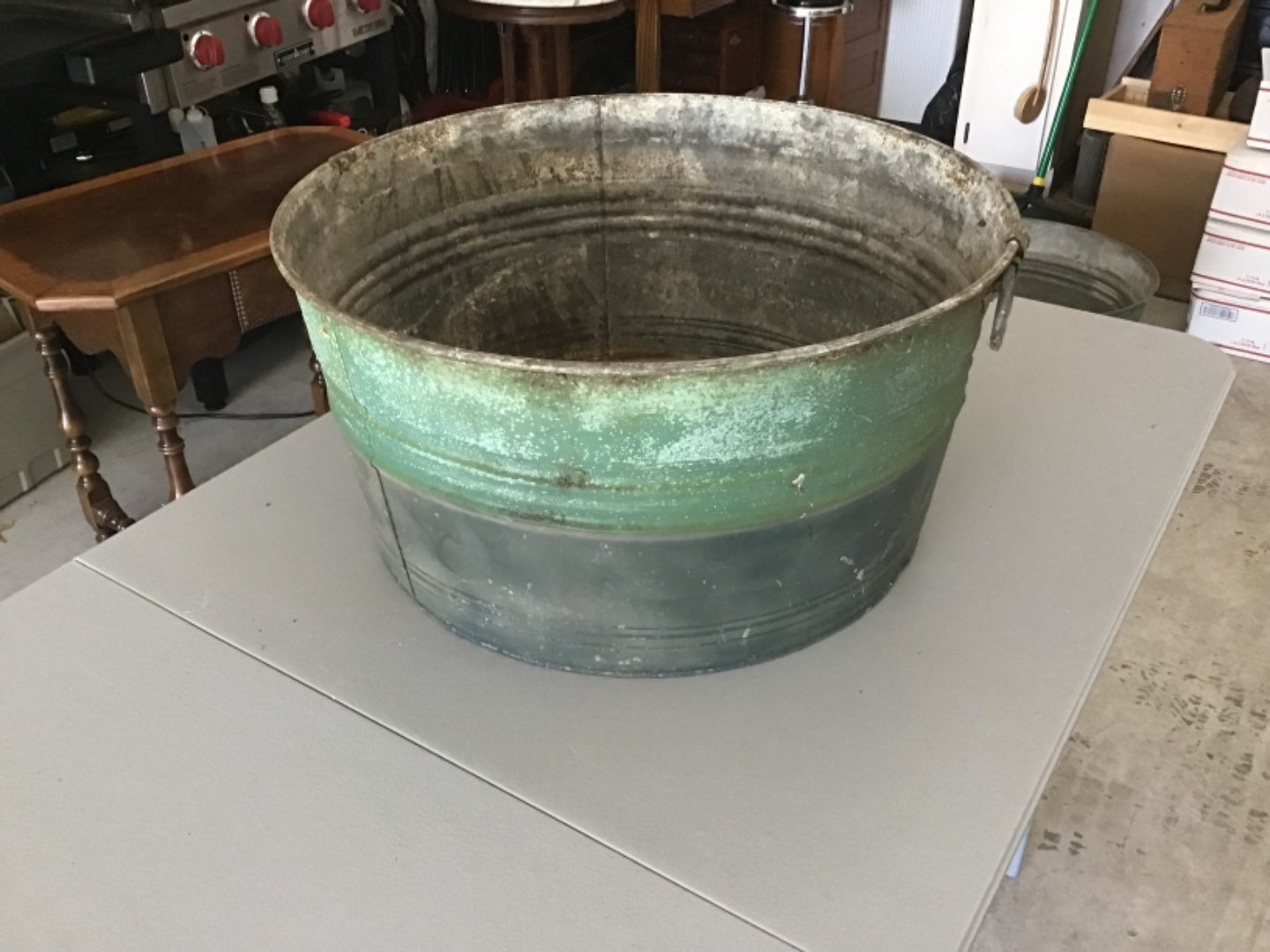 Lot # 190 Great Large Galvanized Tub, Top Half in Old Green Paint