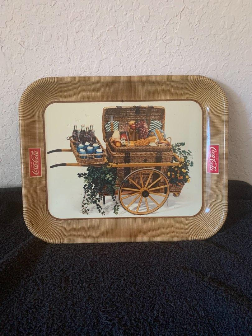 Lot # 191 Vintage 1958 Coca Cola Tin Litho Tray Picnic Basket Fruit