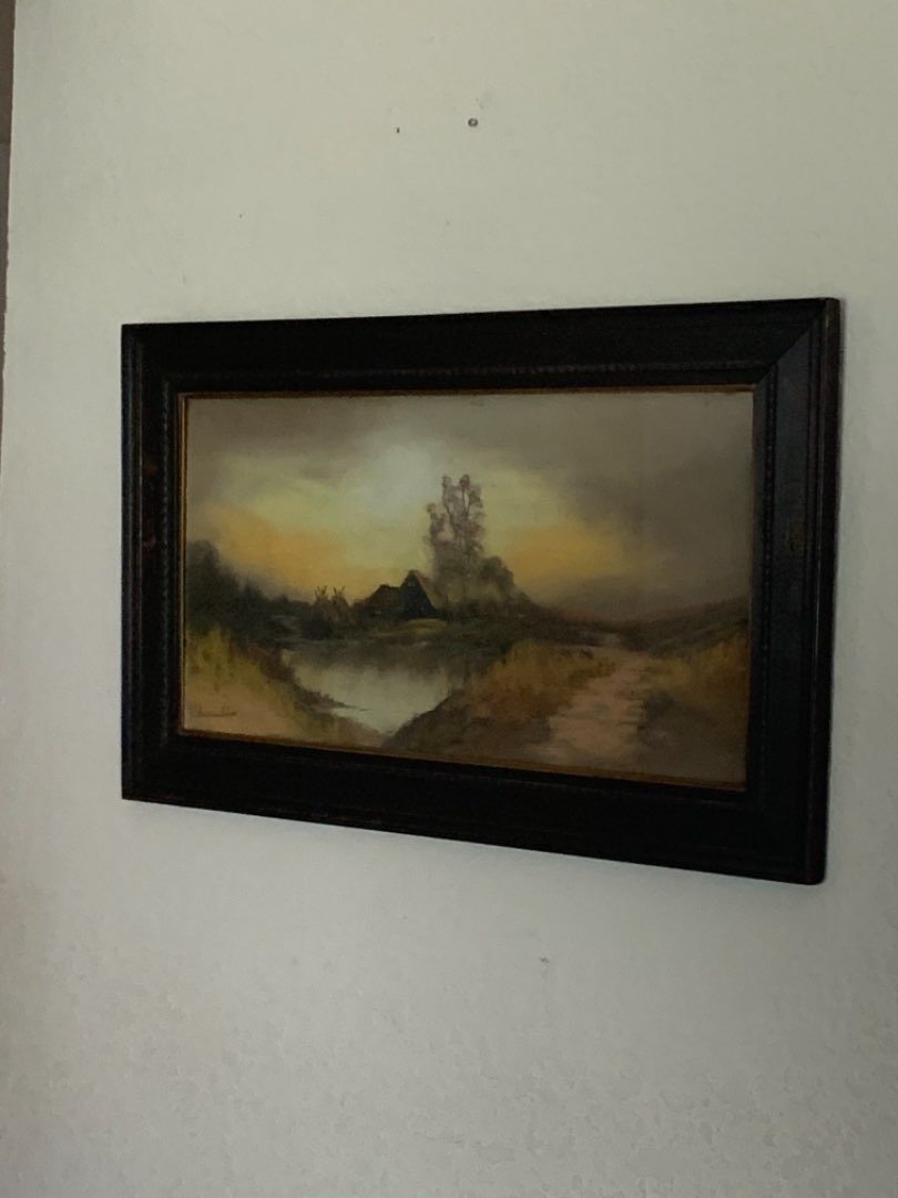 Lot # 201  1st Of Two Large Antique Signed Chandler Pastels. See Below