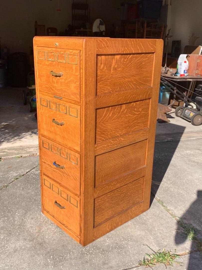 Lot # 216 WOW!! The Best Antique Tiger Oak Library Bureau File Cabinet You've Seen! See Below
