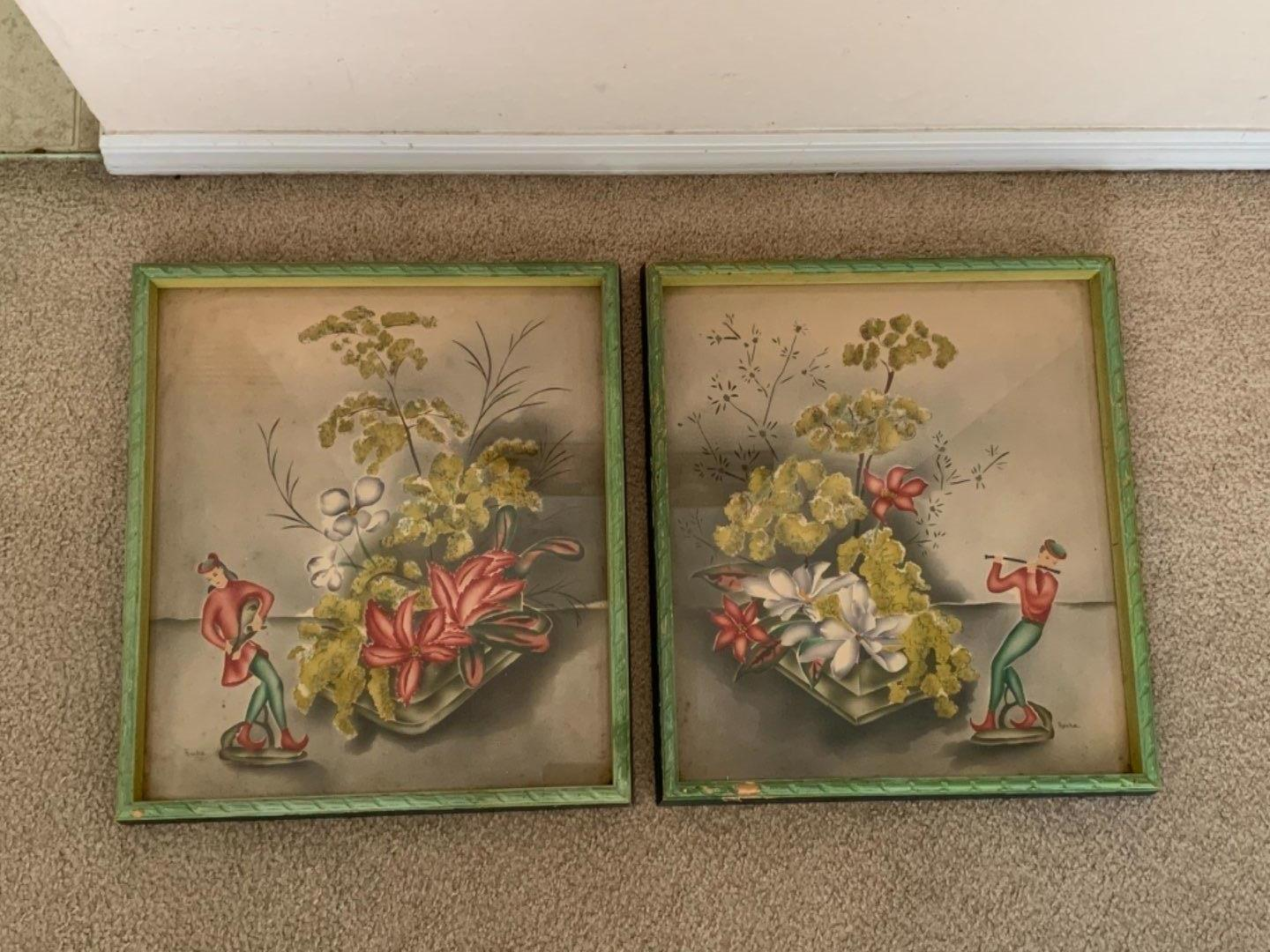 Lot # 219 Very Attractive Antique Pair Signed Roche Chinese Watercolors. See Below