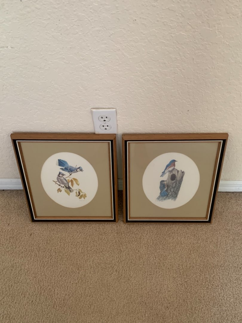 Lot # 232 Matching Frames. Signed Bird Prints. Very Clean