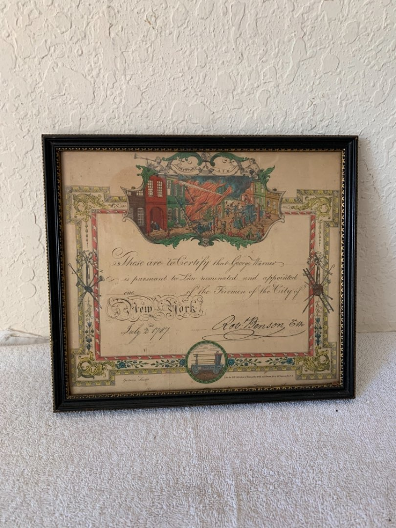 Lot 250 Nice Lithograph Dated 1787 ( From 1863) New York City Fire Fighter Certificate. Great Look