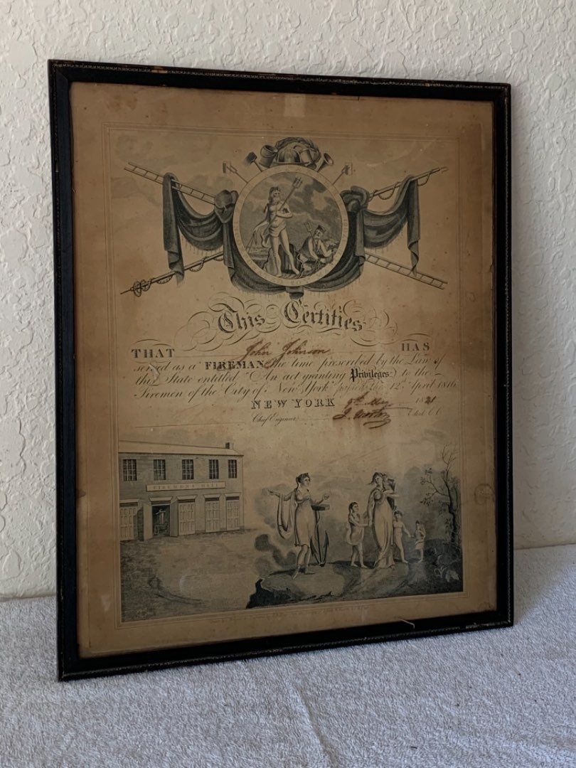 Lot # 251 Fabulous Original Early New York Firefighting Certificate/ Collectible! Must See