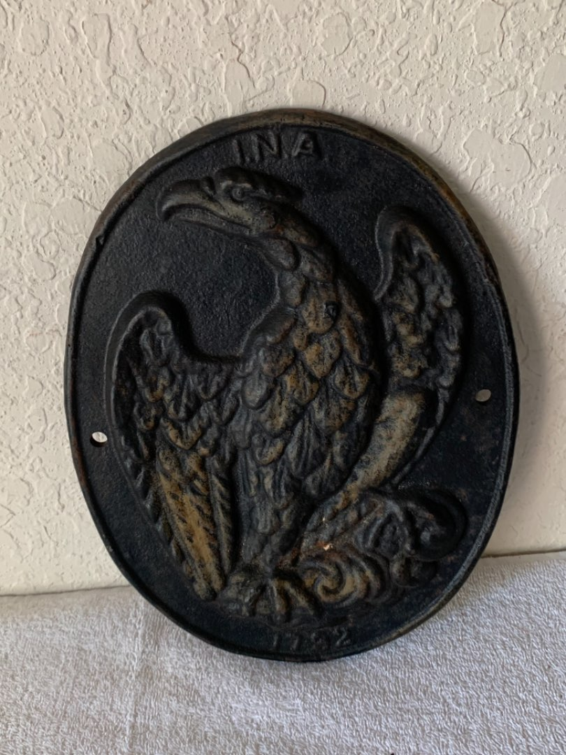 Lot # 255 Vintage Heavy Cast iron Fire Plaque With Eagle INA 1792