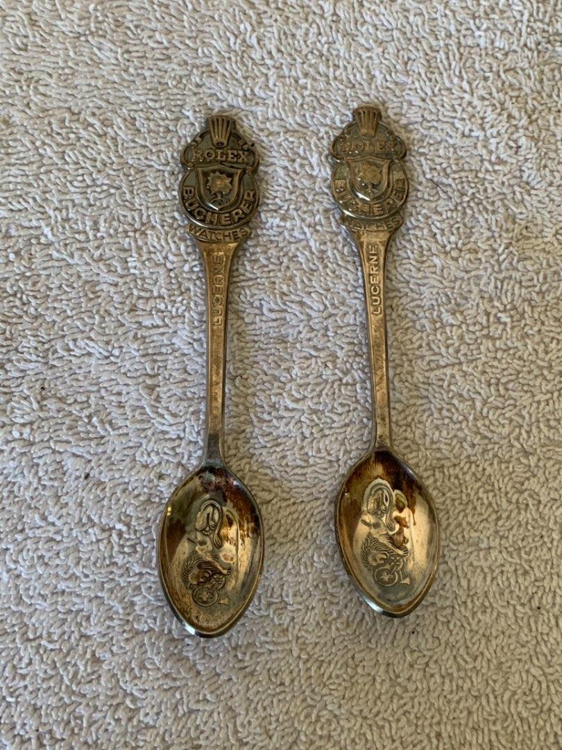 Lot # 257 Pair Matching Vintage ROLEX Bucherer Lucerne Souvenir Spoons