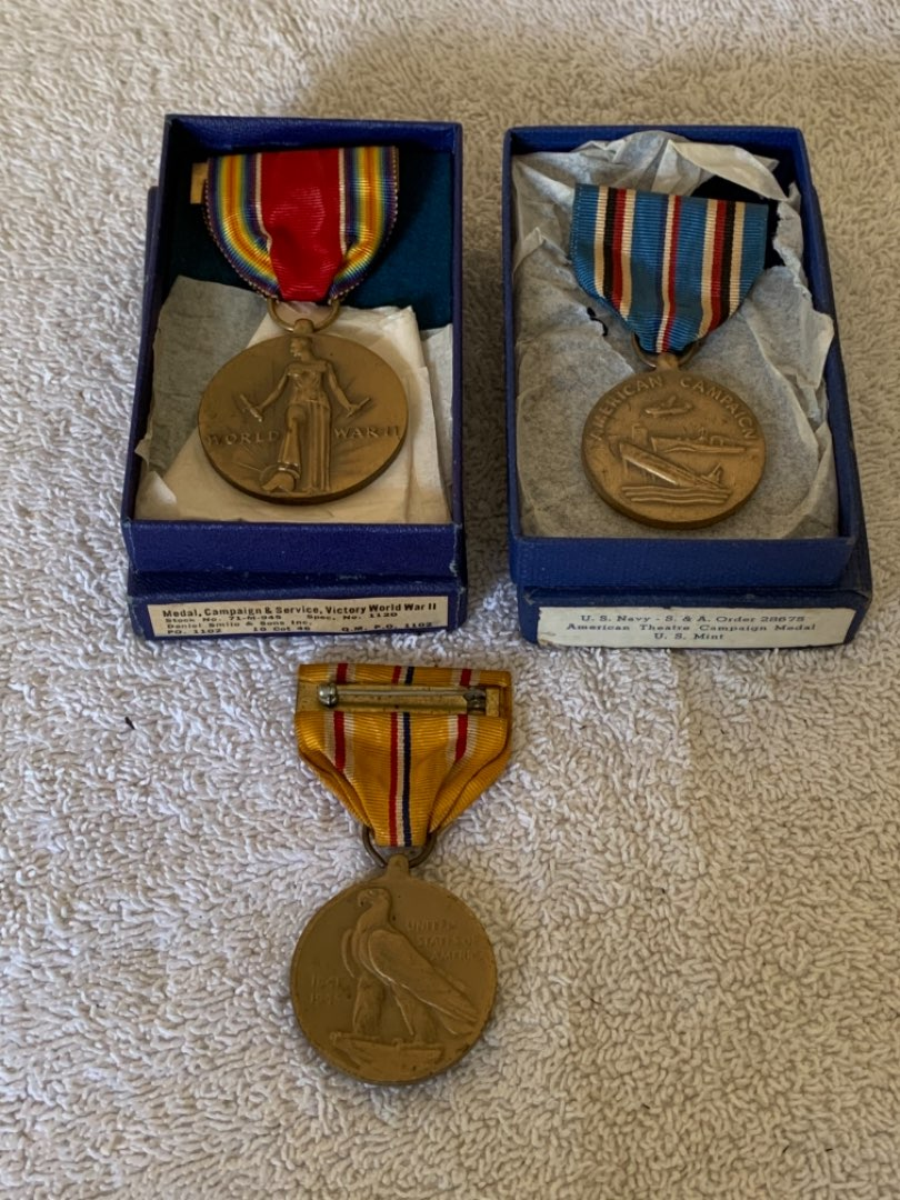 Lot # 260 Lot 3 WW2 Military Medals. 2 In Boxes.