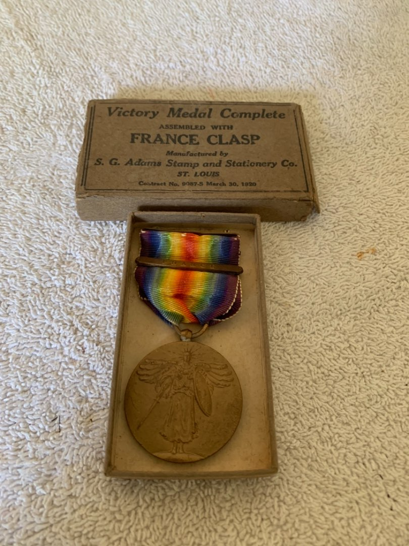 Lot # 261 France Dated 1920 Victory Medal In Box