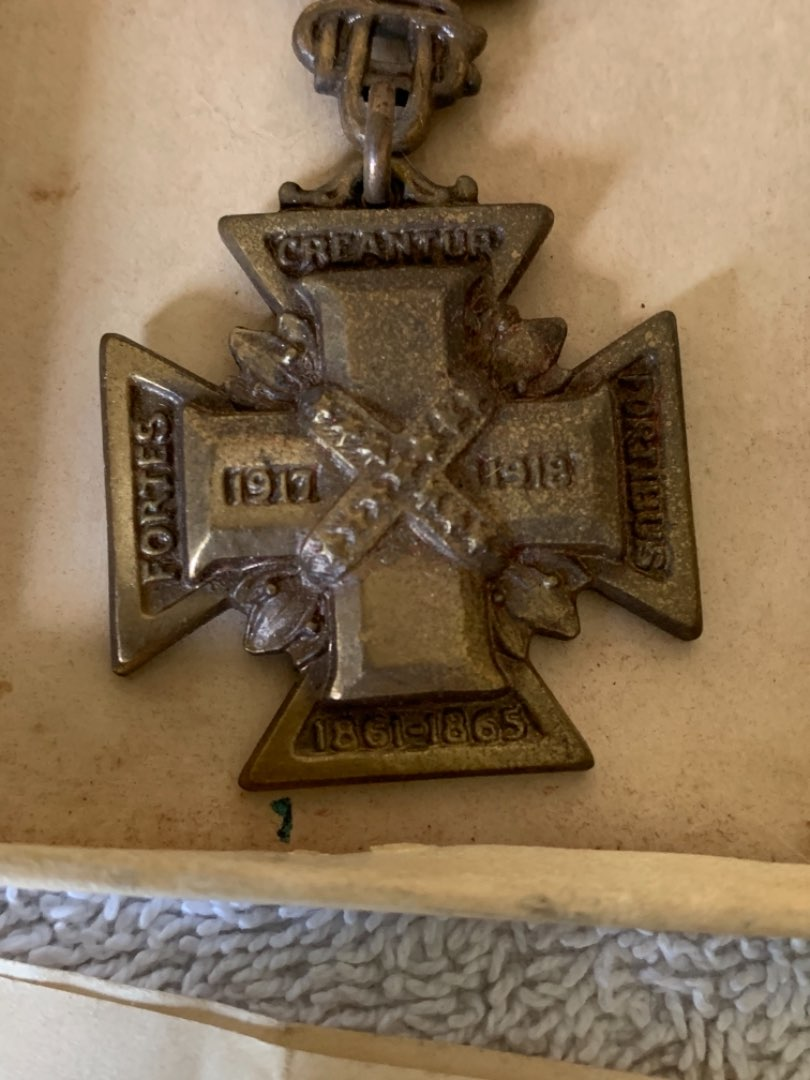 Lot # 262 1918-1919 Cross Of Service. In Box With Paper/Soldiers Name