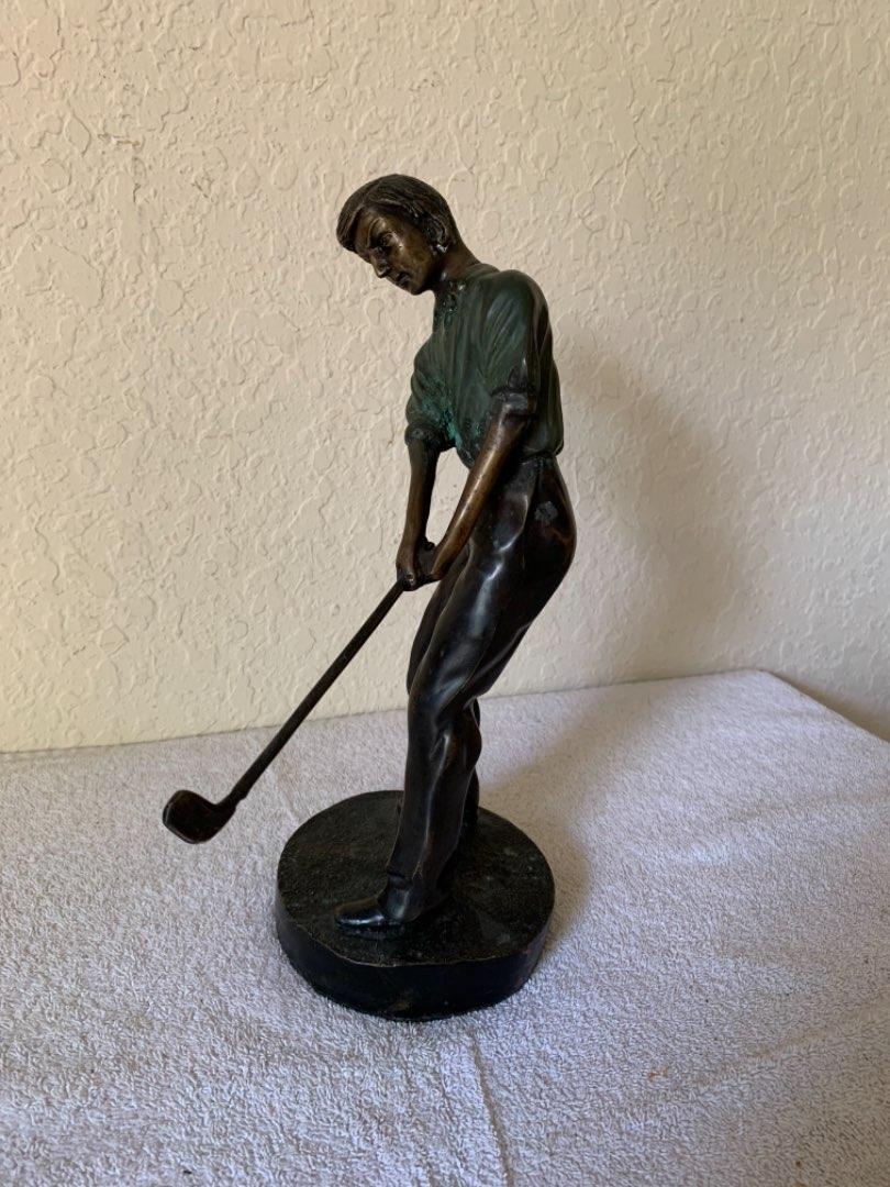 "Lot # 264  Vintage Unsigned 12"" Bronze Golfer Statue"