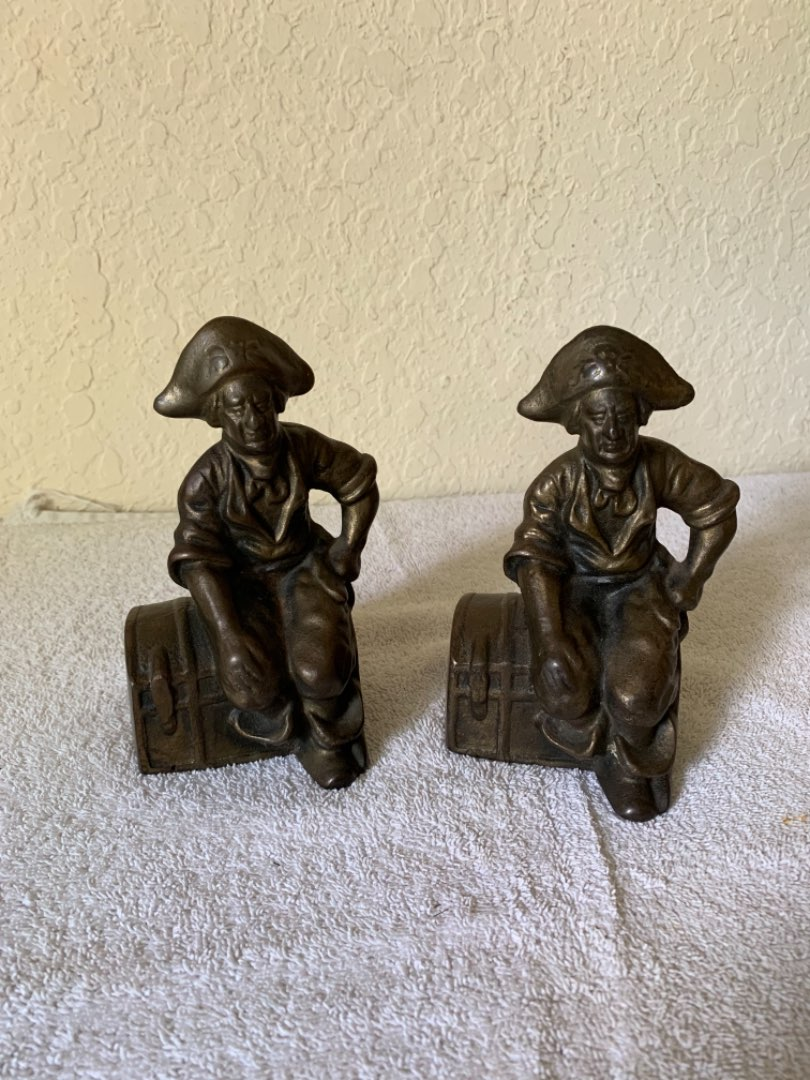 Lot # 265 Very Heavy Vintage Bronze Pirate/Treasure Chest Bookends.