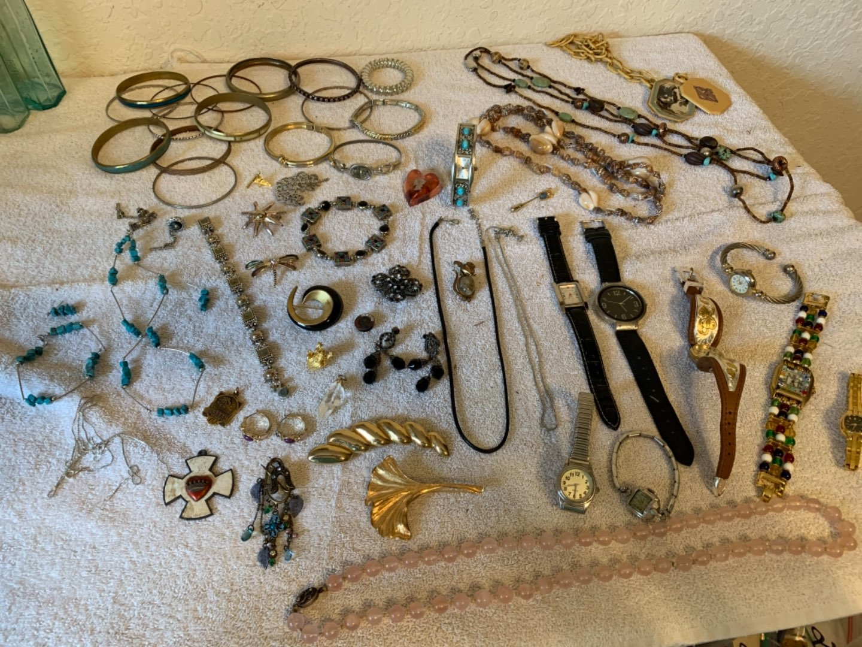 Lot # 268 Huge Lot Costume Wearable Jewelry. Vintage & New, Plus Sterling. See Below