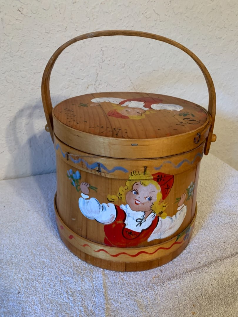 Lot # 269  Vintage Hand Painted Firkin. Nice Condition