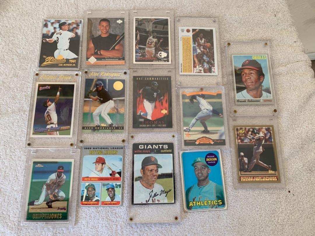 Lot # 270 Lot Vintage Sports Cards. Mays, Jordan, Robinson, Ripken, Jackson, Etc. See Below
