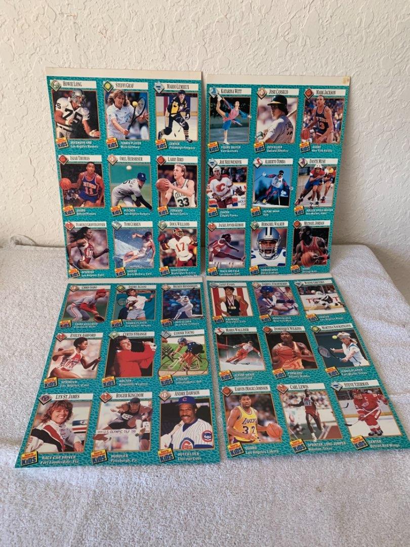 Lot # 274 Vintage Sports Illustrated Kids Uncut Sheets Of Cards. Jordan, Bird, Graf, & Many More