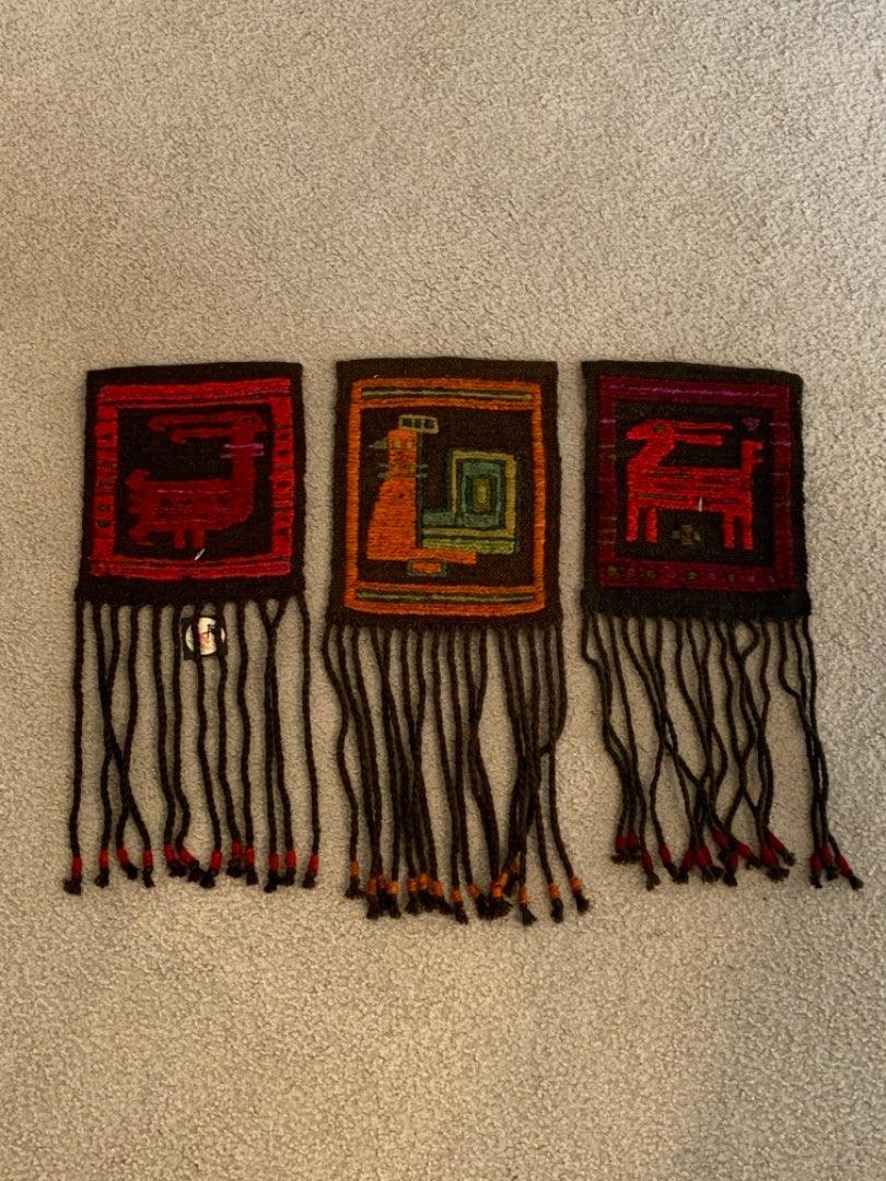 """Lot # 277 Very Nice Lot (3) Vintage (Still With Tags) Kelim """"Sumak"""" Wall Coverings/Tapestries. See Below"""