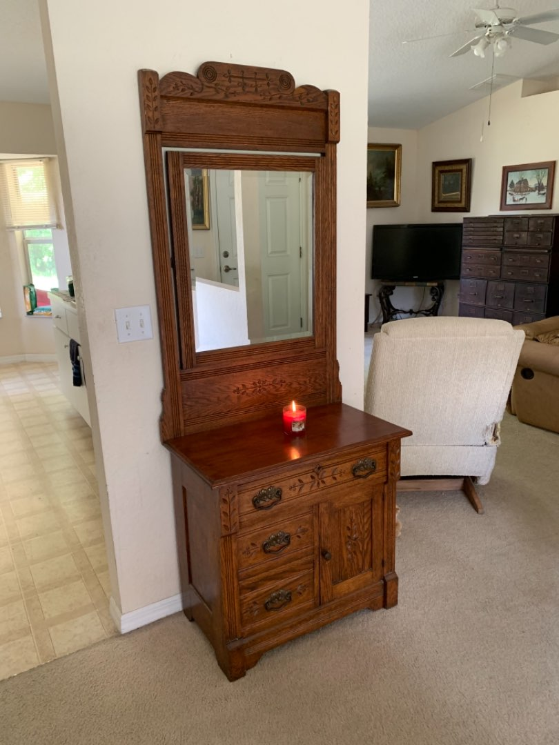 Lot # 279 Gorgeous Antique Solid Oak Eastlake Commode Complete With Tall Beveled Mirror. NICE!