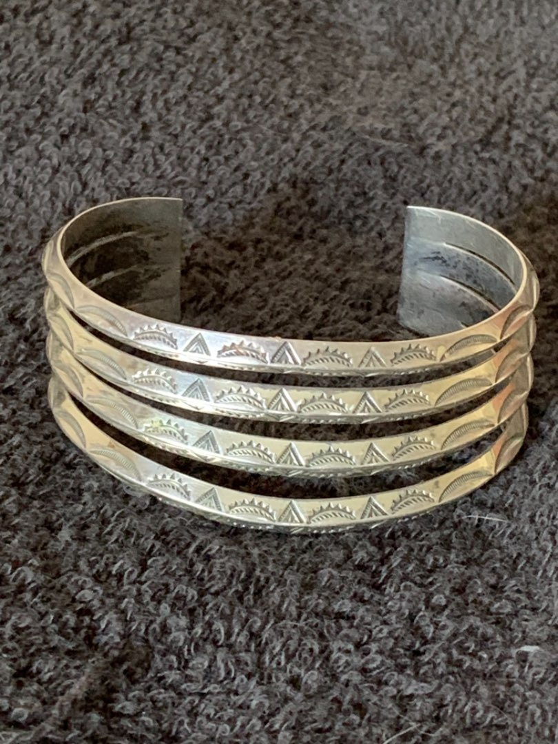 Lot # 283  Stunning & Beautiful Heavy Sterling Silver Cuff. 44.09 Grams