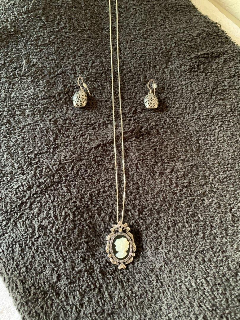 Lot # 284 Beautiful Lot All Sterling Silver Cameo Pendant/Brooch, Chain, & Beautiful Earrings
