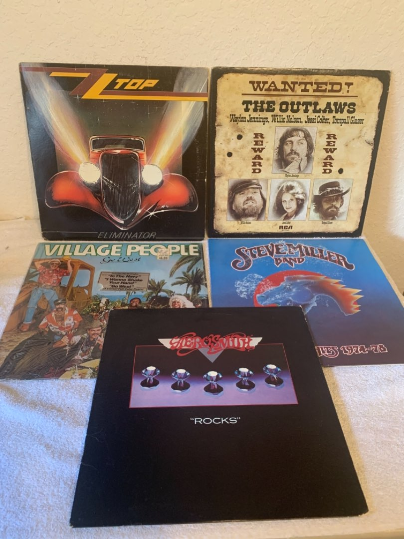 Lot # 290 Vintage Lot (5) Vinyl Albums. Aerosmith, Outlaws, Steve Miller, ZZ Top, Village People. See Below