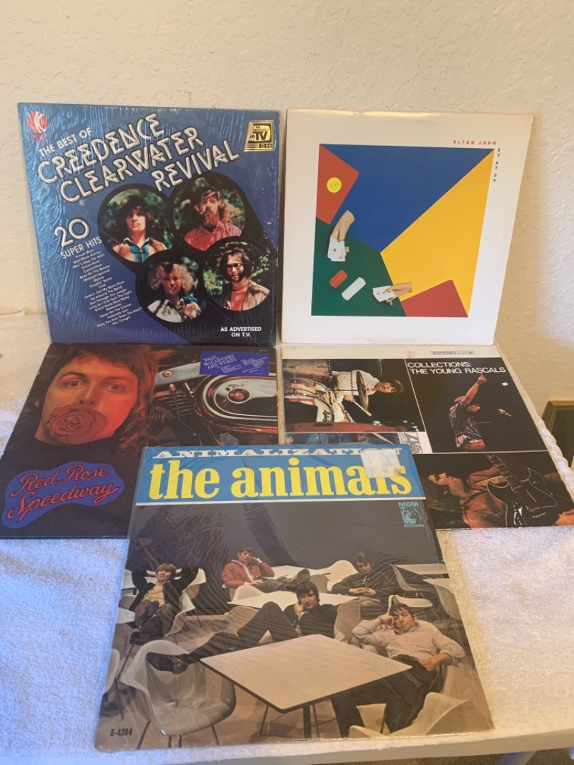 Lot # 291 Vintage Lot (5) Vinyl Albums. Elton, Creedence, Rascals, Animals, McCartney. See Below