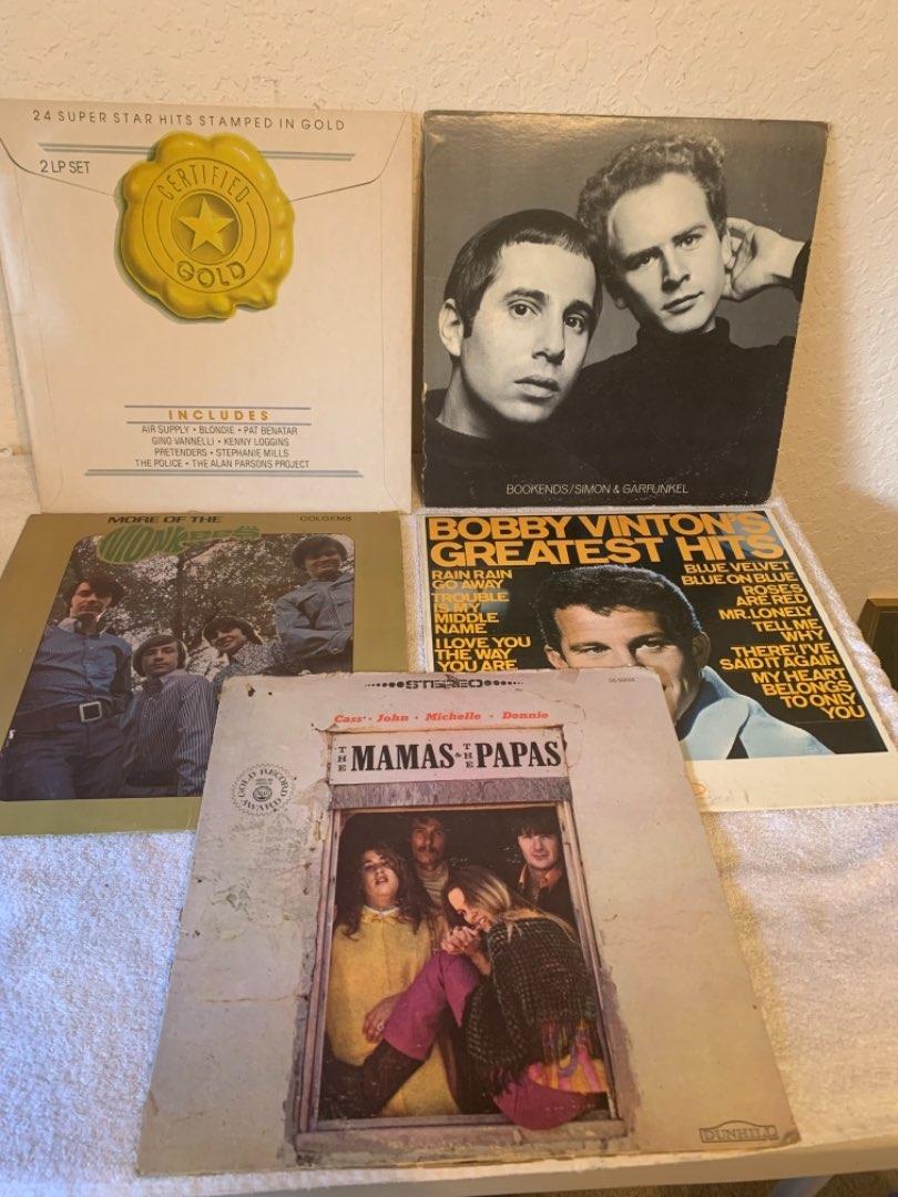 Lot # 292 Vintage Lot (5) Vinyl Albums. Monkees, Vinton, Garfunkel, mamas/Papas,& Mixture. See Below