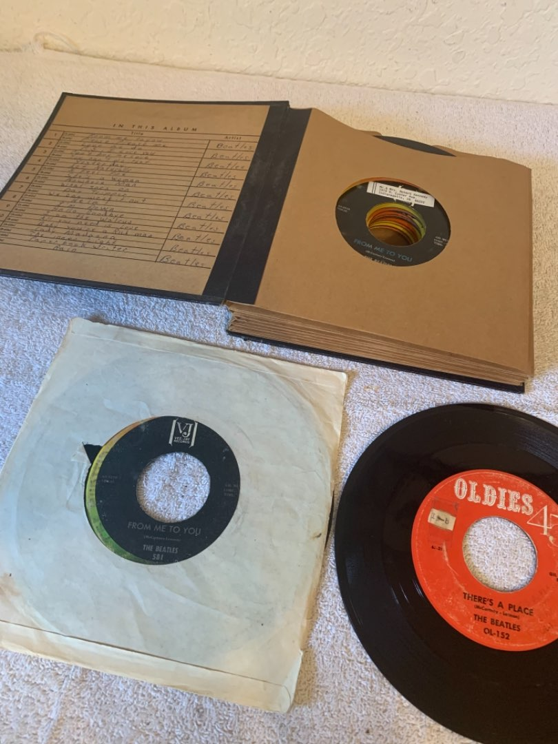 Lot # 295 Nice Vintage Book Filled With ALL Beatles 45's. See Below