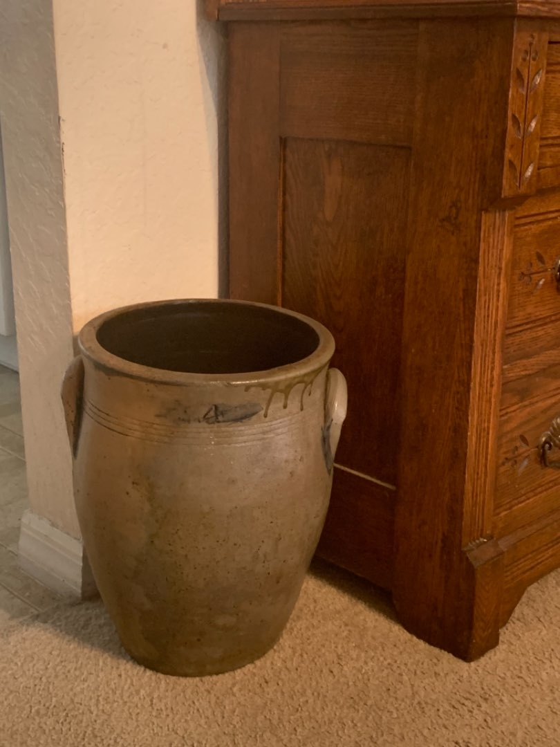 Lot # 296 Very Early #4 Stoneware Double Handle Crock. Some Cobalt Blue.