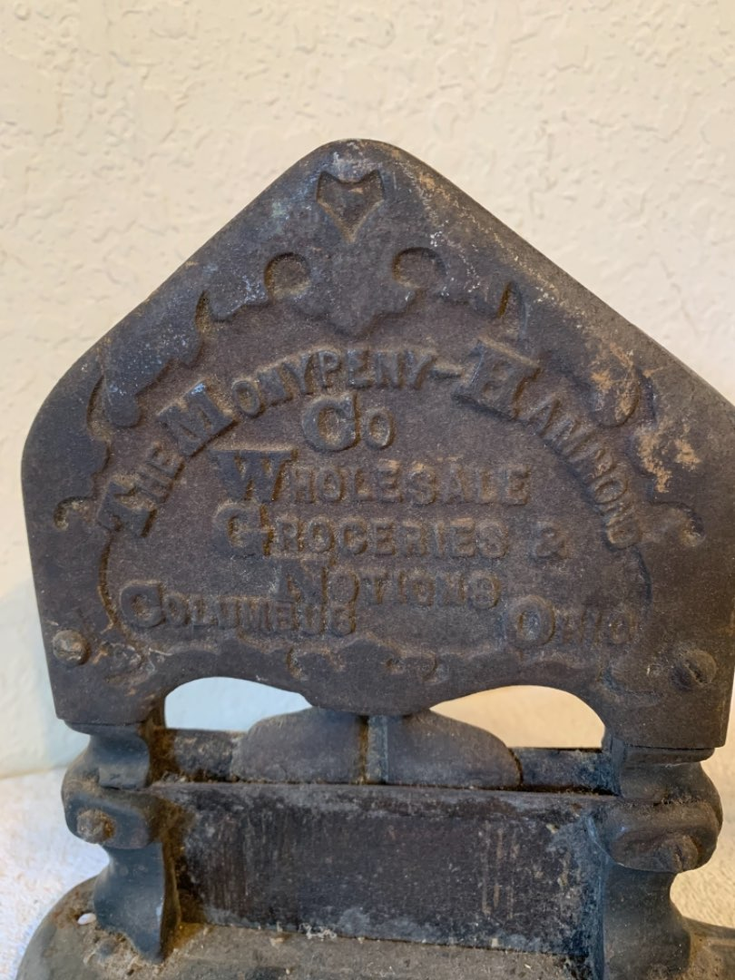 Lot # 308 Very Early Antique TC Johnson Working Tobacco Cutter With Grocery Advertising. See Below