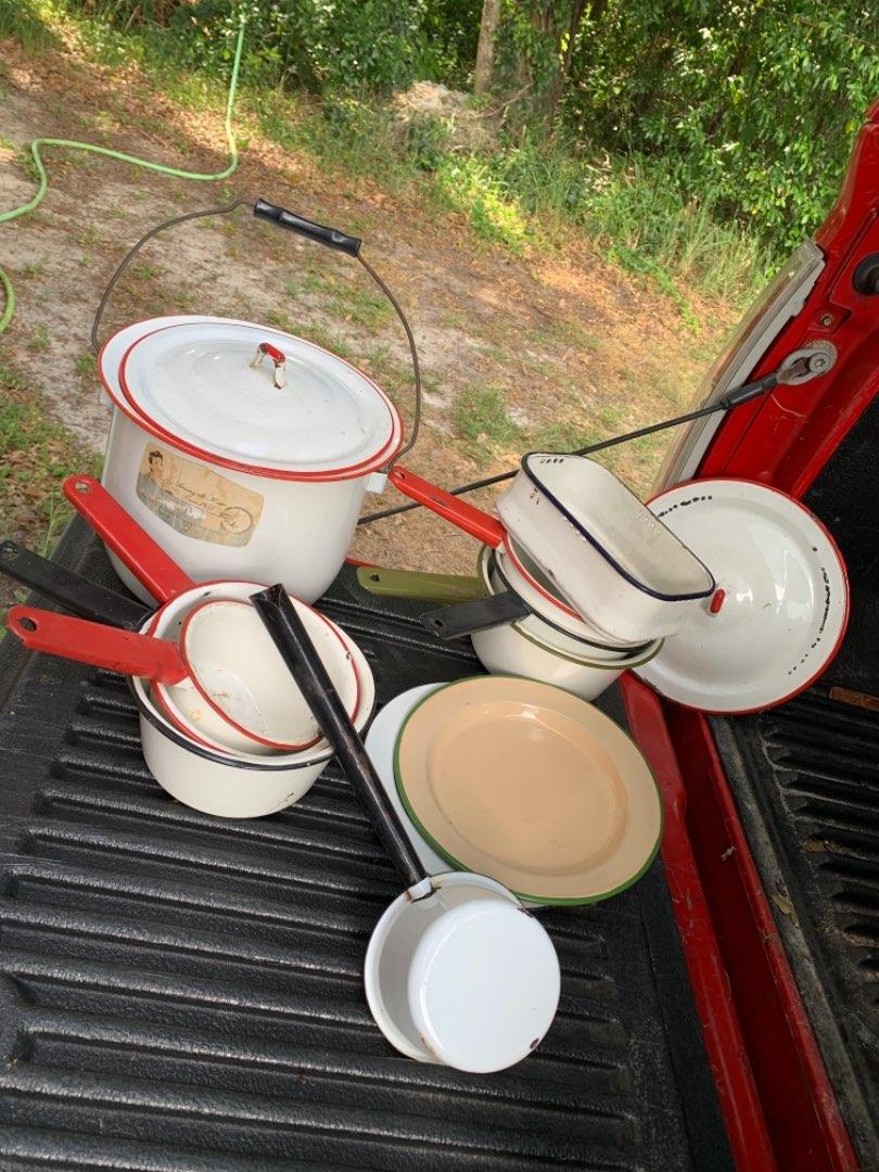 Lot # 315 Large Lot Vintage Enamelware. 6 Saucepans, Kettle, Scoop, Plates, More