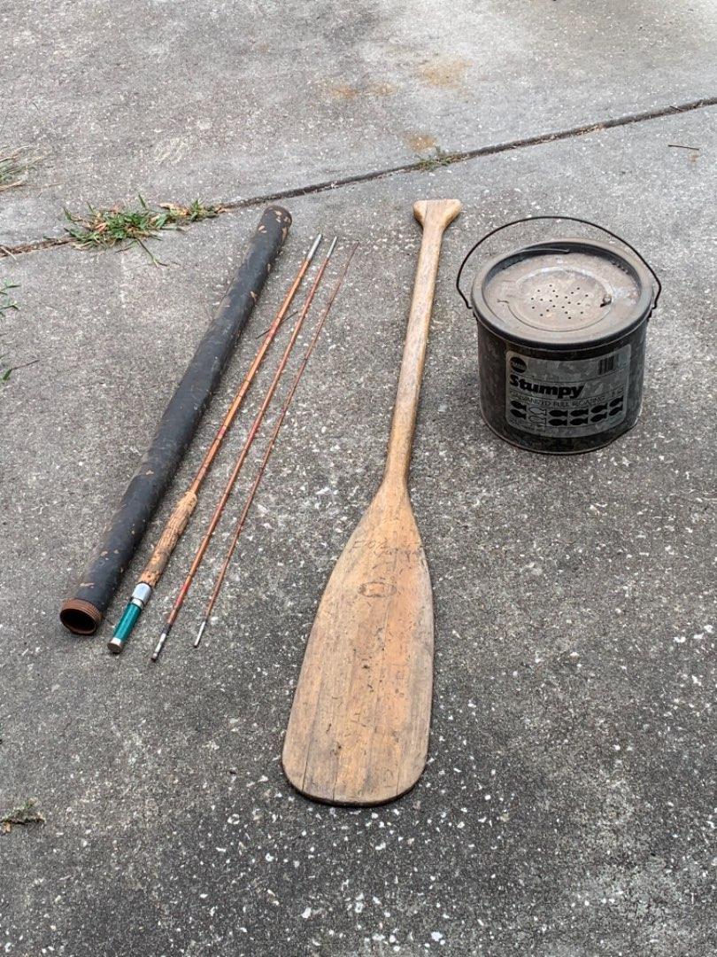 Lot # 323 Vintage Lot Split Bamboo Fly Rod, Bait Can, Canoe Paddle