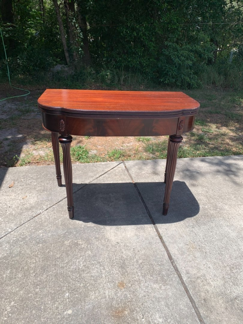 Lot # 329 Antique Flame Mahogany Folding Game/Card Table. See Below