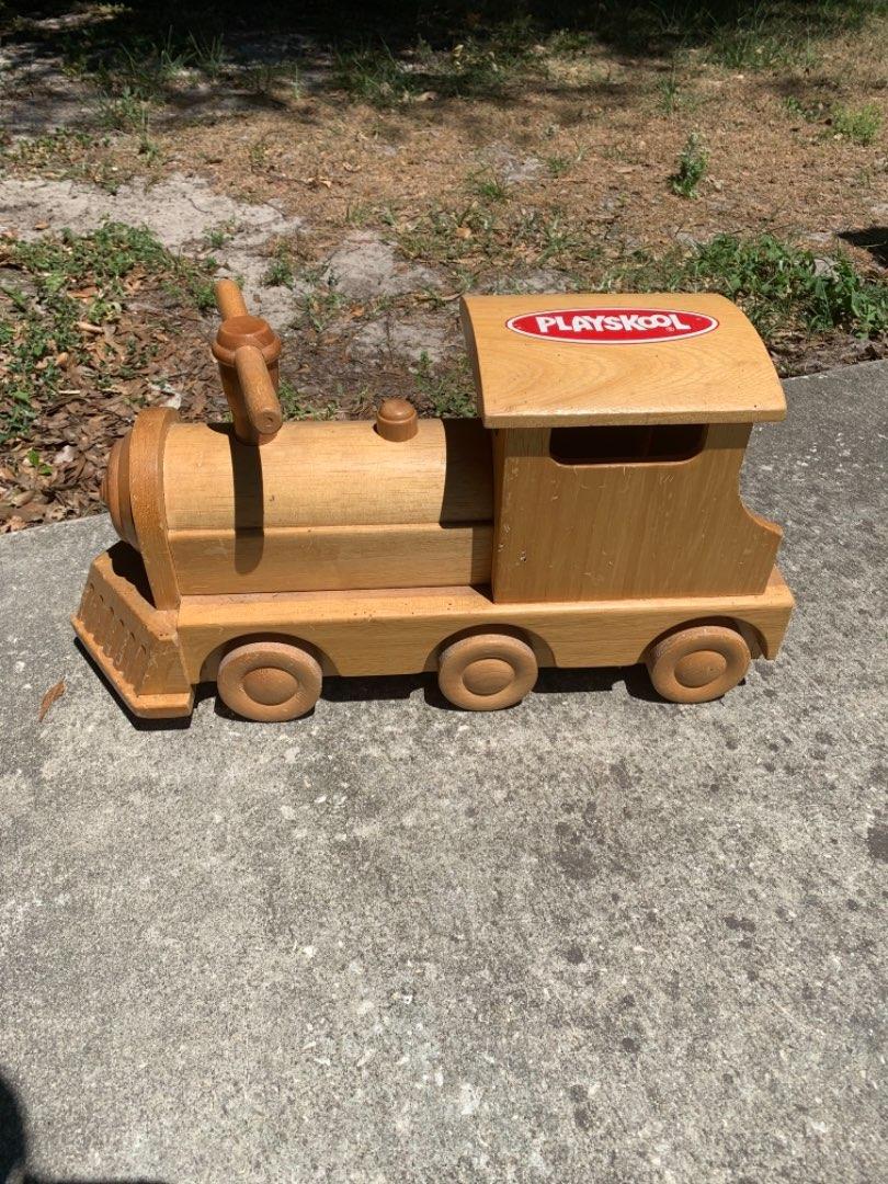 Lot # 332 Vintage Solid Wood Childs Playskool Ride On Train