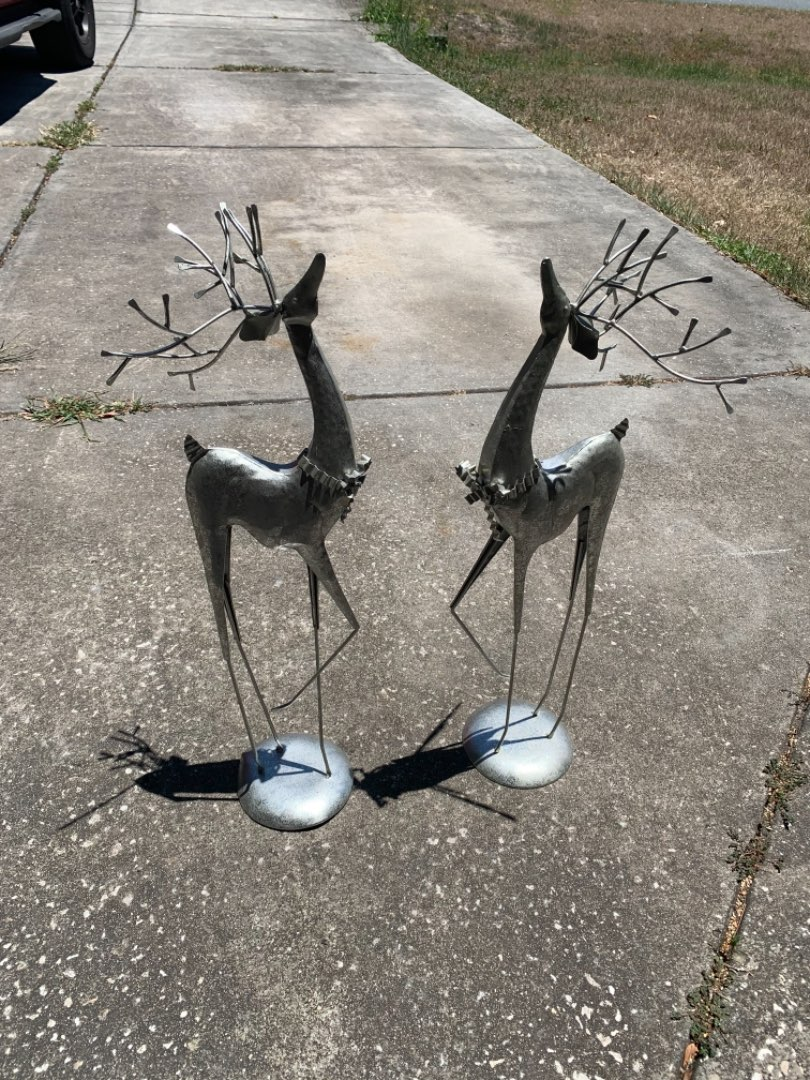 "Lot # 337 Pair Entryway Metal Reindeer Decorations. 27"" Tall"