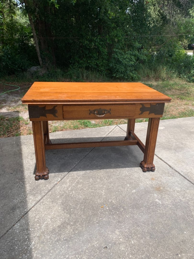 Lot # 344 WOOOW!! One Of The Best Antique Tiger Oak Desk/Library Tables I've Ever Had!! See Below