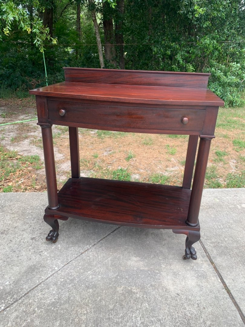 Lot # 345  Beautiful Solid Antique Flame Mahogany Server. Great Paw Feet. See Below