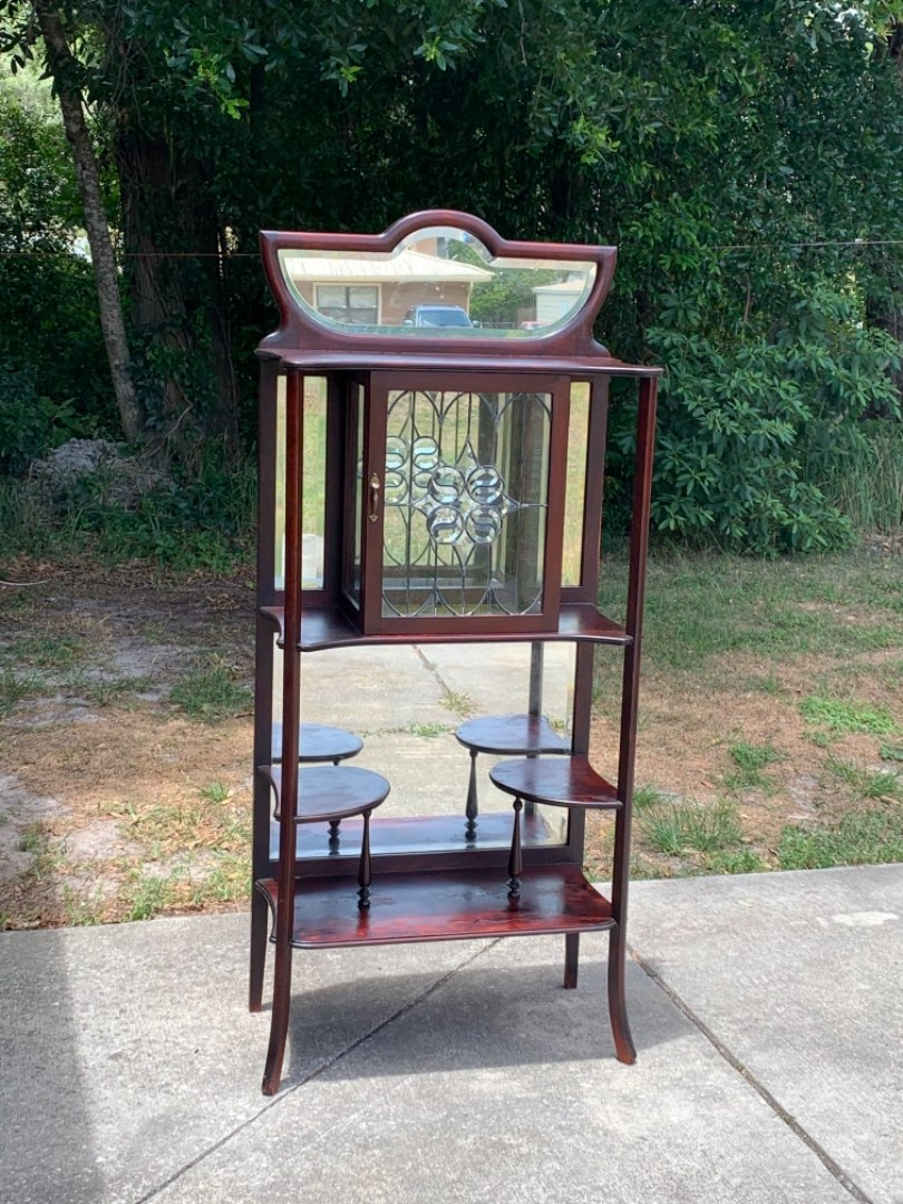 Lot # 346 WOWZA! Stunning Antique Mahogany Etagere With Leaded/Beveled Glass! Must See. See Below!