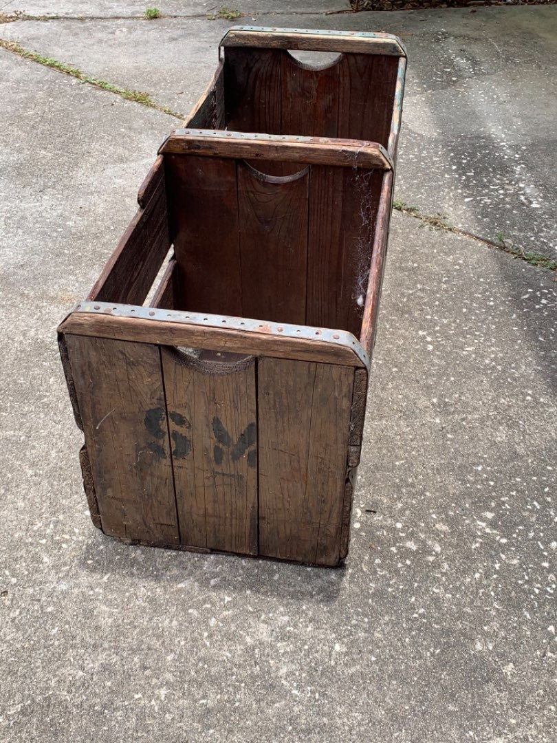 Lot # 356 Very Old & Solid Triple Handles Wood Crate