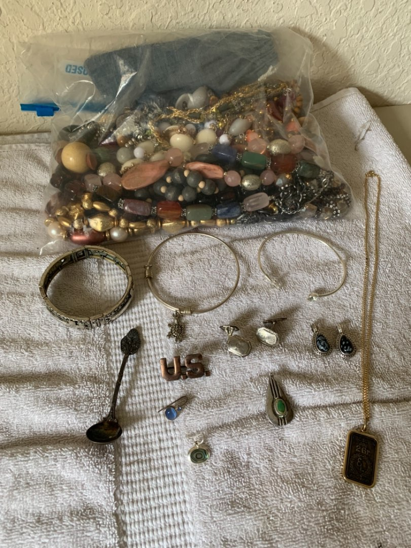 Lot # 362 Lot Of Assorted Costume Jewelry Including Some Silver. See Below