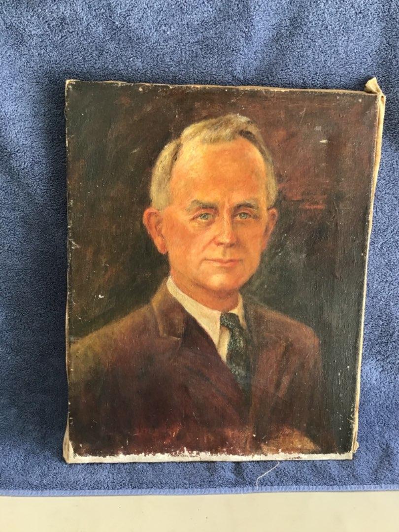 "Lot # 367 Wonderful Vintage Oil on Canvas ""Instant Relative"""