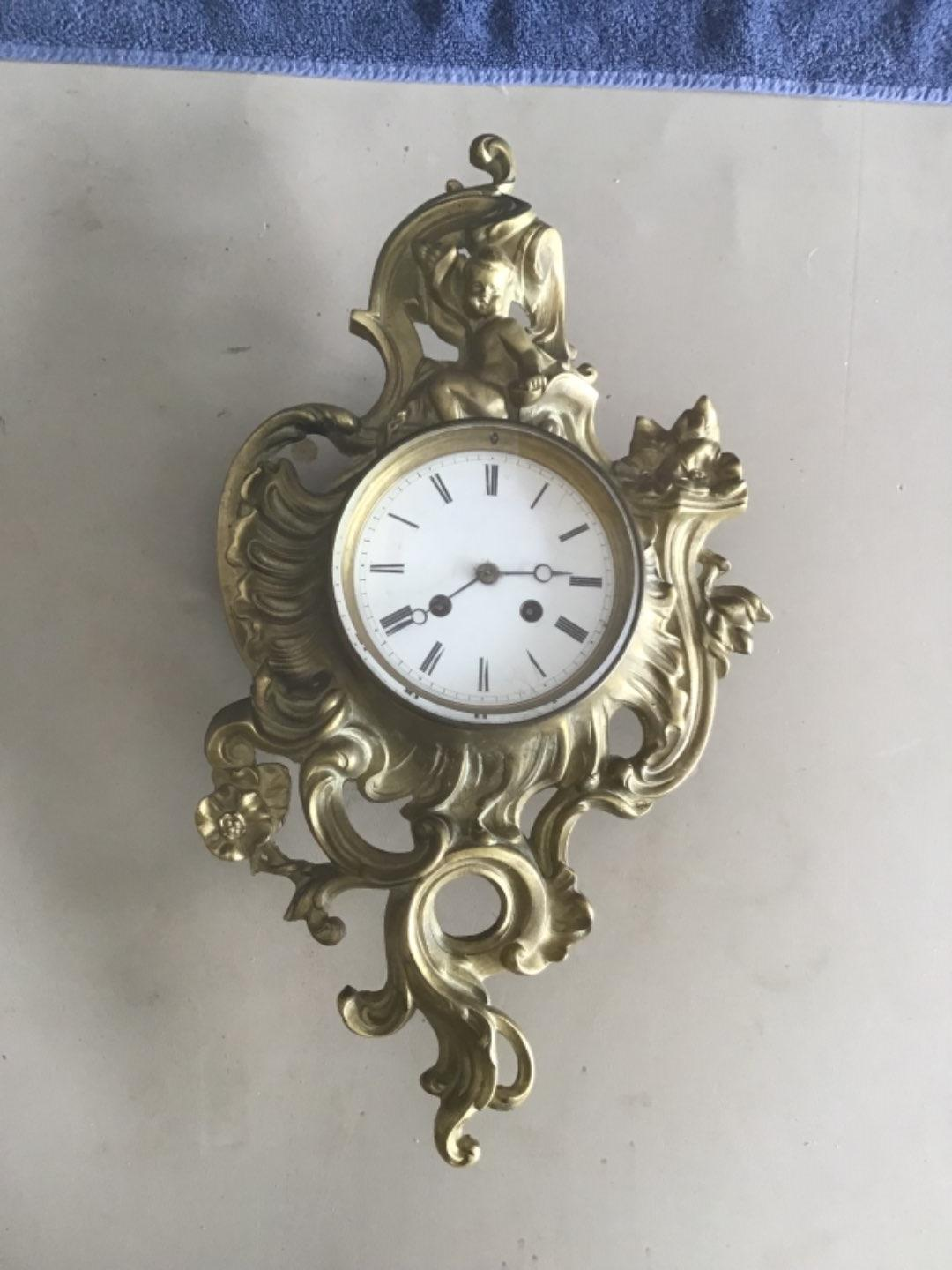 Lot # 369 WOWWW!! JAPY FRERES Antique French Baroque Cartel Wall Clock w/Cherub - See Below